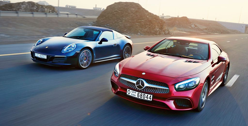 Mercedes Benz Sl 400 And Porsche 911 Targa 4s Review Wheels